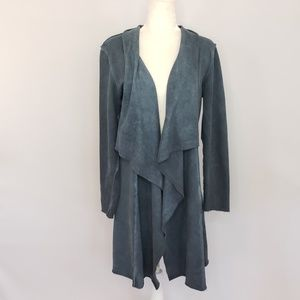 Vocal blue distressed long style cardigan Medium